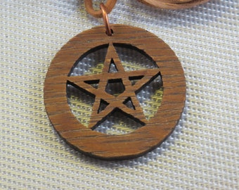 Solid Red Oak Pentagram 2in Diameter Necklace with cord