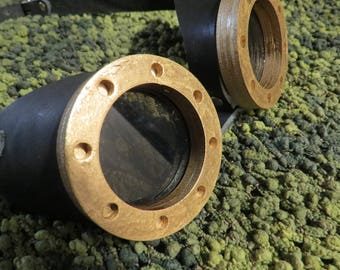 """Hand crafted black Leather STEAMPUNK """"boiler"""" googles- laser cut tinted lenses and frames"""
