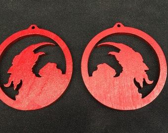 2 pc Krampus earring findings primed red