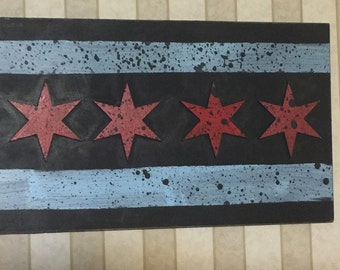 CHICAGO flag sign - laser cut wood sign