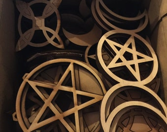 6x6x7 box 1.5 lbs of cut wood shapes Pagan Witch Wicca pentagrams triple goddess and more  Laser cut Plywood crafters parts and miscuts