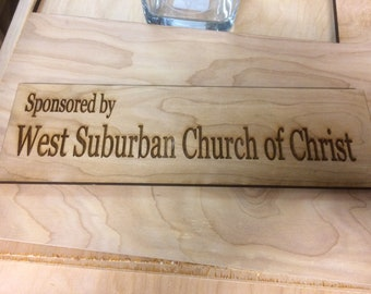 3x12in custom etched wood sign