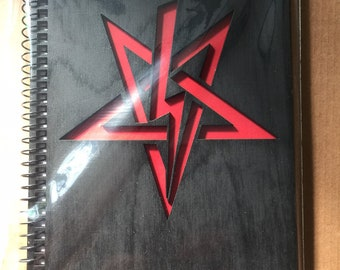 Sigil of Anton LaVey Spiral Notebook Book of Shadows Black on red cutout 5 x 7in 80 lined pages