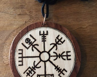 Vegvisir, Viking Compass 3-1/2 in Diameter Necklace with cord amulet Walnut / Hickory