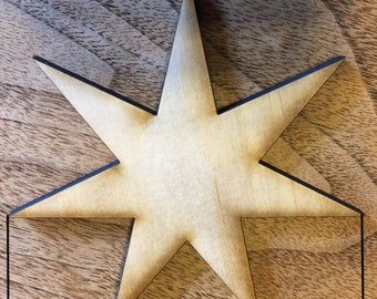 4 pack-7 point-heptagram- Elven star-Fairy star -laser cut- made in Chicago