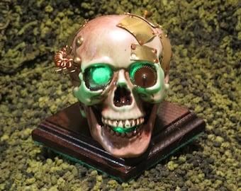 Steampunk light up Skull Green #133