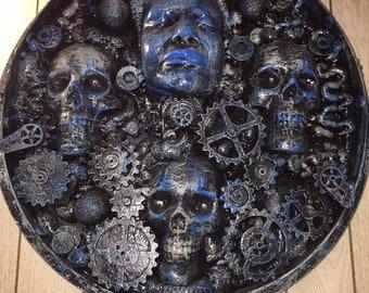 HR Giger inspired wall art assemblage sculpture industrial steampunk