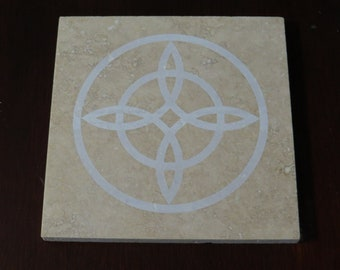 6 in Witch's Knot Altar Tile travertine- laser etched detail- 6x6in Kitchen Witch trivet