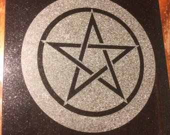 12 inch Black Granite Altar plate 12x12 Pentagram-Pentacle -Star of David-Witches Knot- Heptagram-Sigil of Baphomet