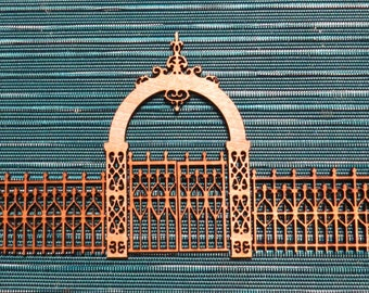 TERRAIN - Victorian Style Fence and Gate- gaming miniature-laser cut wood