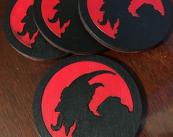Last Few KRAMPUS Coaster pack of 4 silhouette