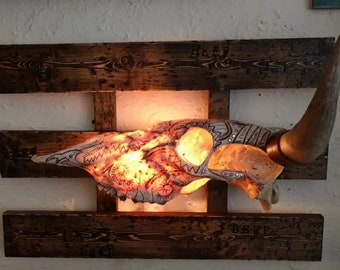 Viking tribal carvings real COW Skull lamp by Kennedy Shenberg