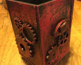 Red Steampunk  painted wooden desktop pen holder 3.5x.35x5.2in