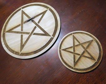 Wood Pentacle Altar Tile -Pentagram Tile ANY SIZE 1-11 inces