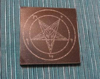 4 in Sigil of Baphomet  Kitchen Trivet Black Granite- laser etched detail- 4x4in