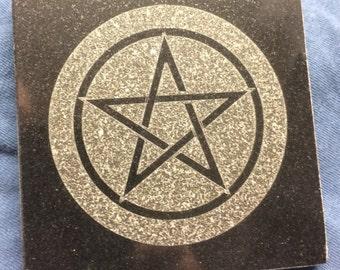 4 inch Black Granite Altar plate 4x4 Pentagram-Pentacle -Star of David-Witches Knot- Heptagram-Sigil of Baphomet