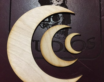 Crescent Moon shapes - 1 inch - 2 inch - 4 inch 1/8 Baltic Birch Plywood