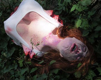 Sexy Ginger Dead Girl Life size Female Gory Torso Halloween Prop by EvilToad Studios