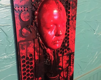 Red Phase 1, Original Art  by Tomasz W Klymiuk - HR Giger inspired wall art assemblage sculpture industrial darkart