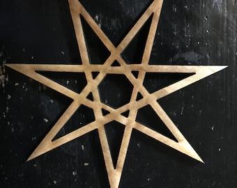 4 pack -7 point-open-heptagram- Elven star-Fairy star -laser cut- made in Chicago