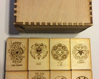 Wood Tarot 78 card set with case 2-7/8x1-7/8 in - Travel size