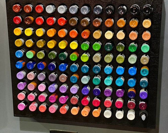 Featured listing image: 120 Tattoo Ink / Craft paint holder - wall rack Holds 120  2 oz ink bottles 19.5 X 22 inch