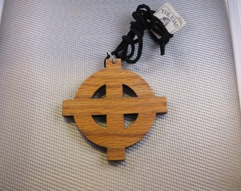 Solid White Oak Celtic cross  3 1/8 in Diameter Necklace with cord