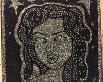 YOUR ART on Black Granite Kitchen Trivet Tile- laser etched detail- 4x4in