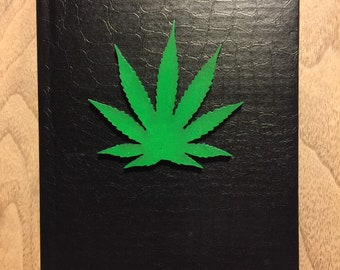 LAST FEW Book of Shadows, Pot Leaf color on Black 5x7 80 lined pages
