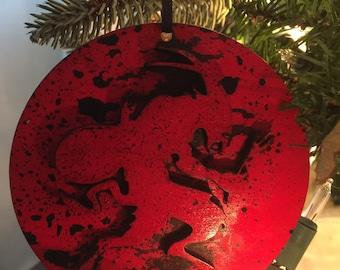 Pack of 4 KRAMPUS round wood Ornament