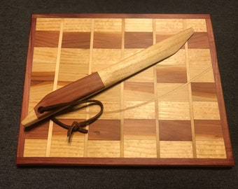 Mixed wood cheese board and knife set, askew design