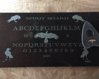 Ouija Spirit Board Crow themed Black Granite- laser etched detail- 12x24in with planchette