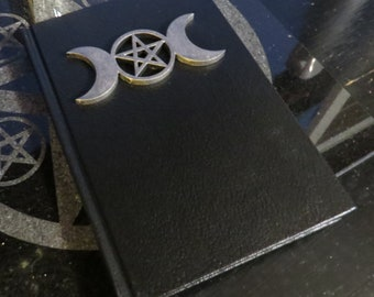 Book of Shadows - Silver color on Black 5.5 x 8in - 110 blank unlined pages