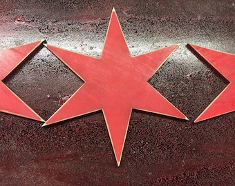 Six Inch distressed 6 Point CHICAGO Flag Stars QTY of 4 PACK - laser cut - made in Illinois - Birch Plywood