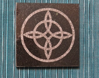4 in Witch's Knot Kitchen Trivet Black Granite- laser etched detail- 4x4in