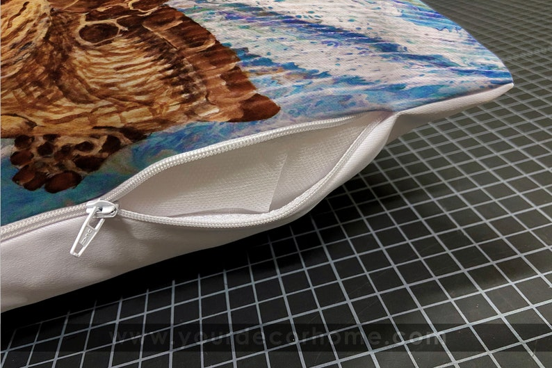 polyester printed fabric pillow cover conch shell under the sea Loran Chavez ocean art beach decor local artist fairhope alabama art