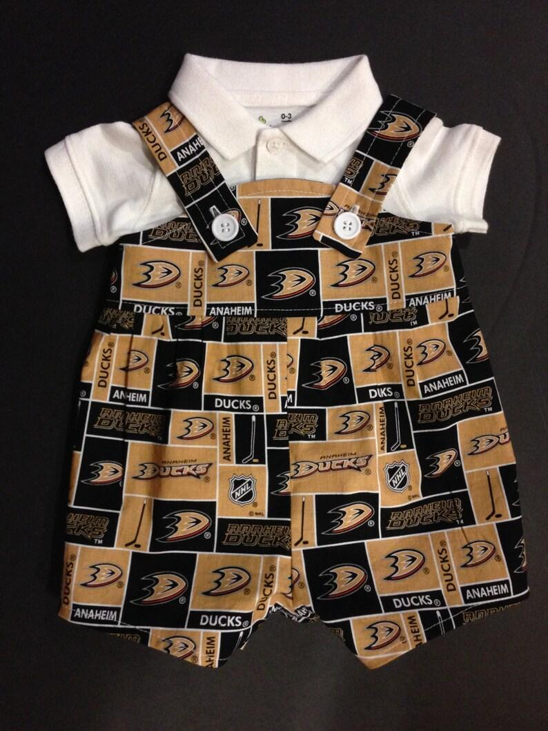 pretty nice 2724d b6e87 NHL Hockey Anaheim Ducks Baby Infant Toddler Boys Jumper Romper Overalls  You Pick Size