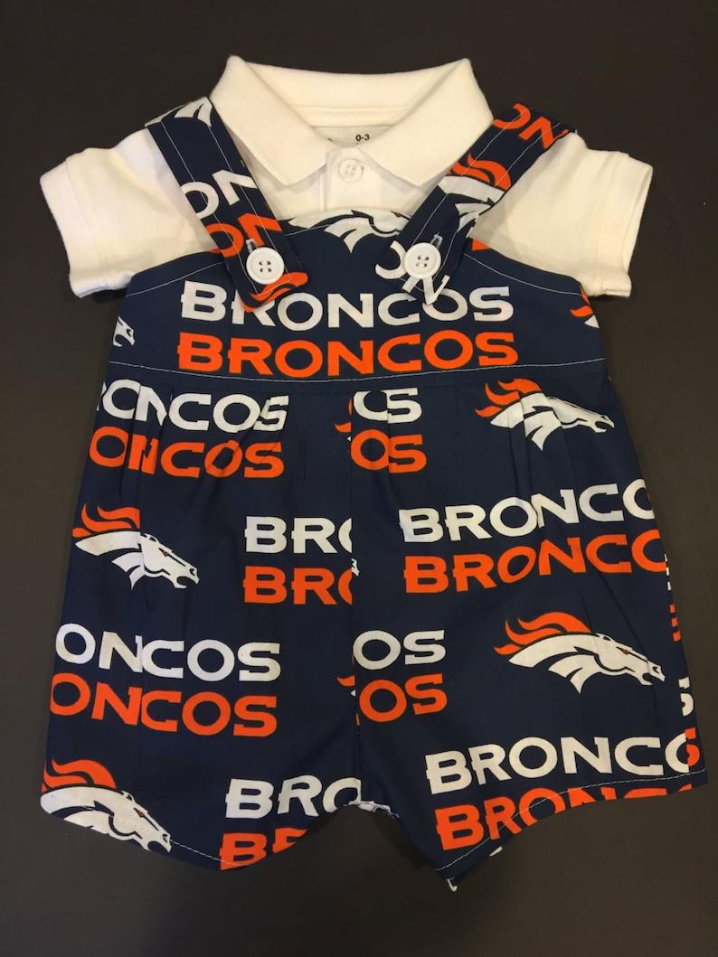 buy online cb4e9 f3343 NFL Denver Broncos Baby Infant Toddler Boys Jumper Romper Overalls You Pick  Size