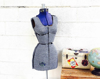 DRESS FORM   Vintage Dressmaker Dummy   Adjustable Sewing Mannequin   Industrial Store Display   Photography Prop   Quality Queen Size A  