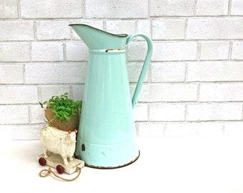 Large Enamel WATER PITCHER | Mint Green Antique Enamelware Jug | Jadite Green Milk Jug | Tall Enameled Water Pitcher | French Farmhouse