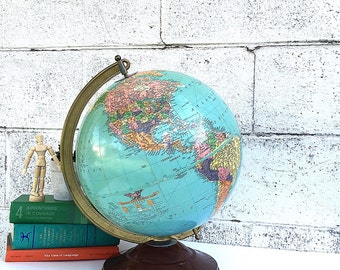 WORLD GLOBE | Vintage Replogle 12-inch Diameter Reference Globe | Mid-Century Desk Globe | late 1940's Globe | USSR | early Cold War Globe