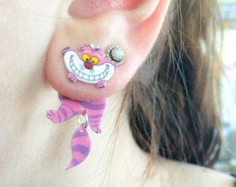 Alice In Wonderland inspired Cheshire Cat Dangle Fake Gauge Earrings