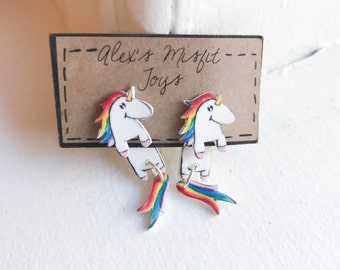 Kawaii Unicorn Fake Gauge Clinging Earrings