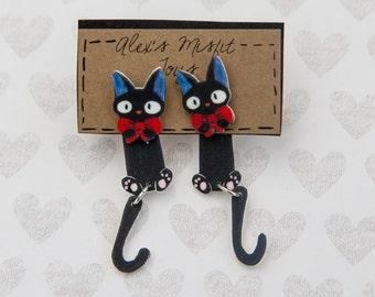 Kiki's Delivery Service Inspired Black Jiji Cat Clinging Faux Gauge Earrings