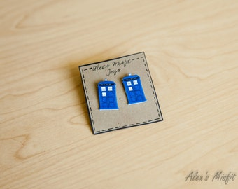 Dr. Who Inspired Tardis Earrings