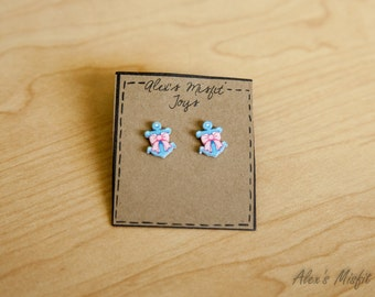 Cute Nautical Inspired Pink and Blue Anchor Earrings