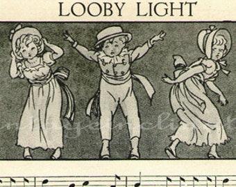 Vintage 1930 Delightful Nursery Rhyme Book Plate Looby Light ORIGINAL childrens book plate