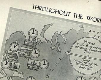 Vintage World TIME Map 1 1950s original