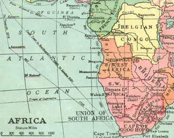 1930 AFRICA Map vintage atlas map deco map wall map