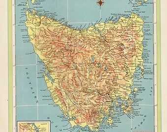 1940 Map Tasmania, Northern Territory, atlas map
